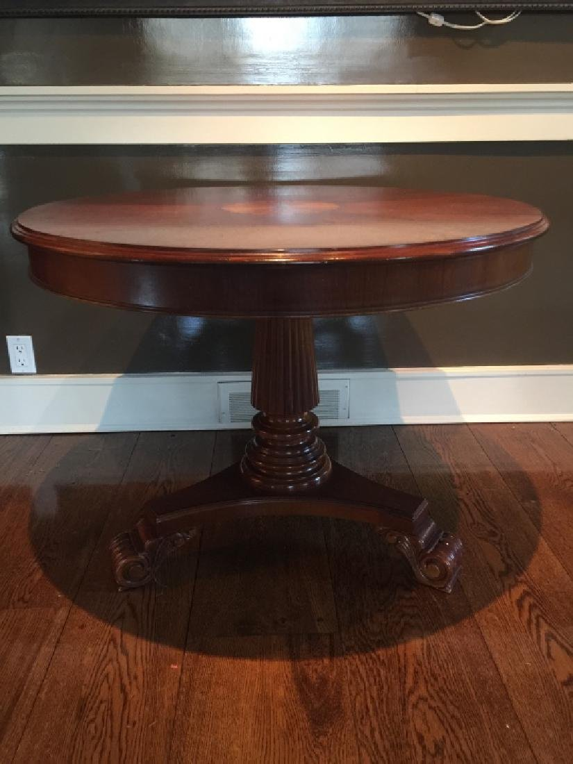 Contemporary Traditional Inlaid Pedestal Table - 3