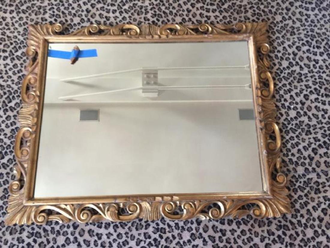 Florentine Italian Carved Gold Leaf Scroll Mirror - 2