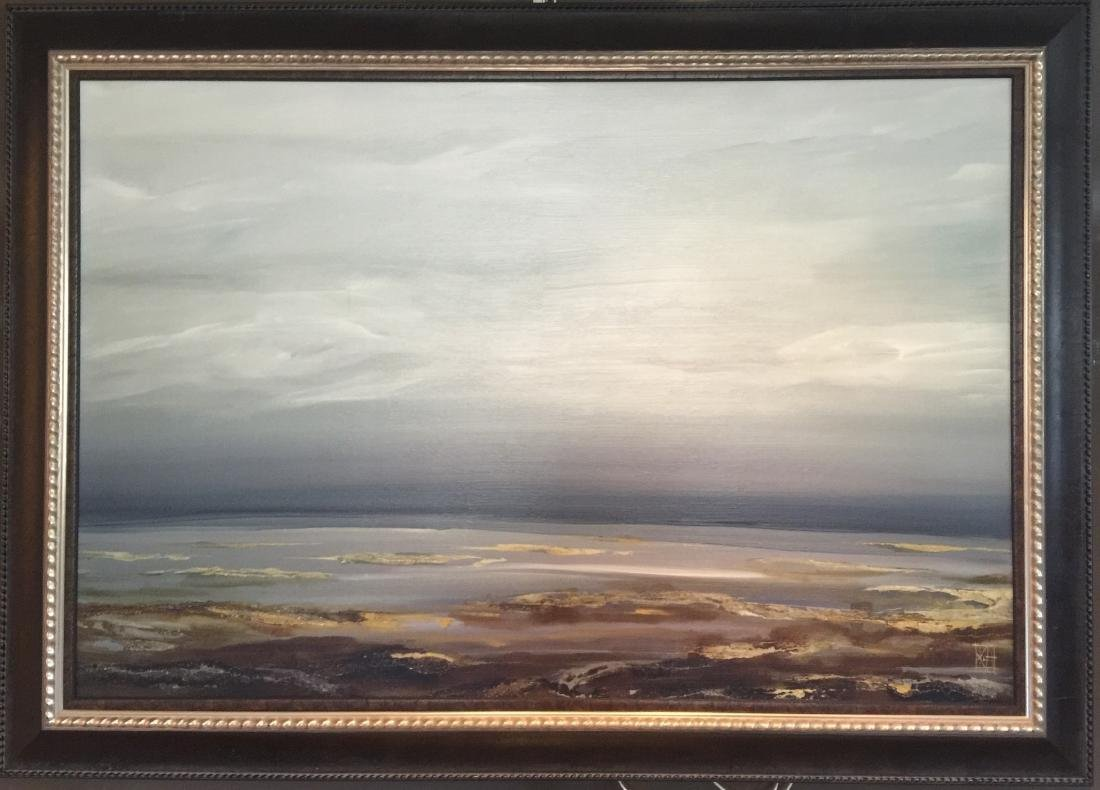 Large Contemporary Framed Coastal / Beach Scene