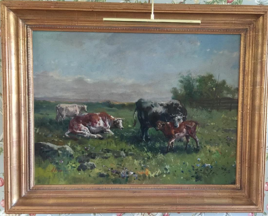 Large Oil Painting on Canvas Landscape w Cows