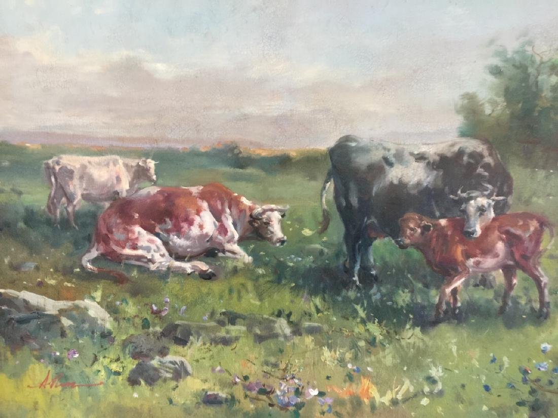 Large Oil Painting on Canvas Landscape w Cows - 2