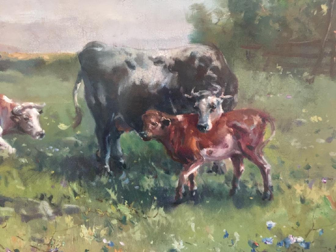 Large Oil Painting on Canvas Landscape w Cows - 4