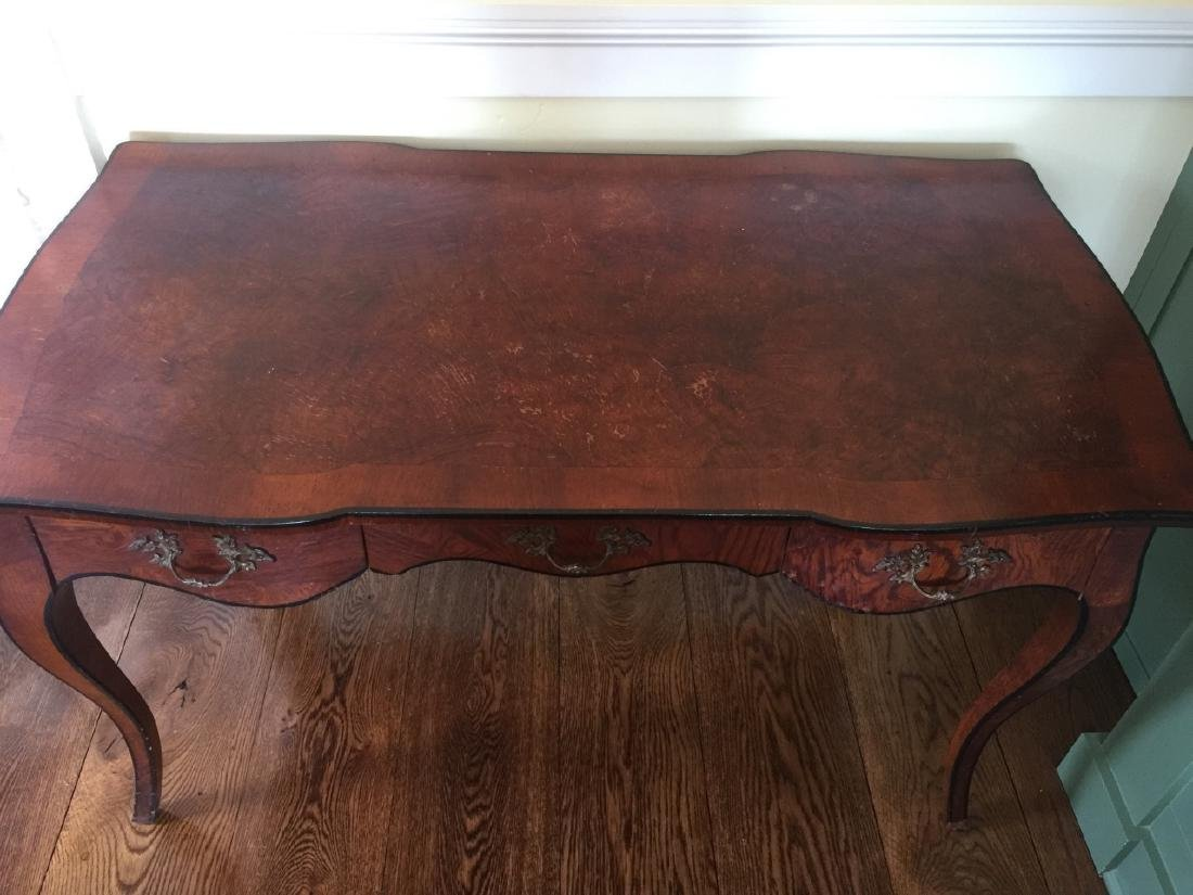 Antique French Rococo Style Burl Wood Desk - 2