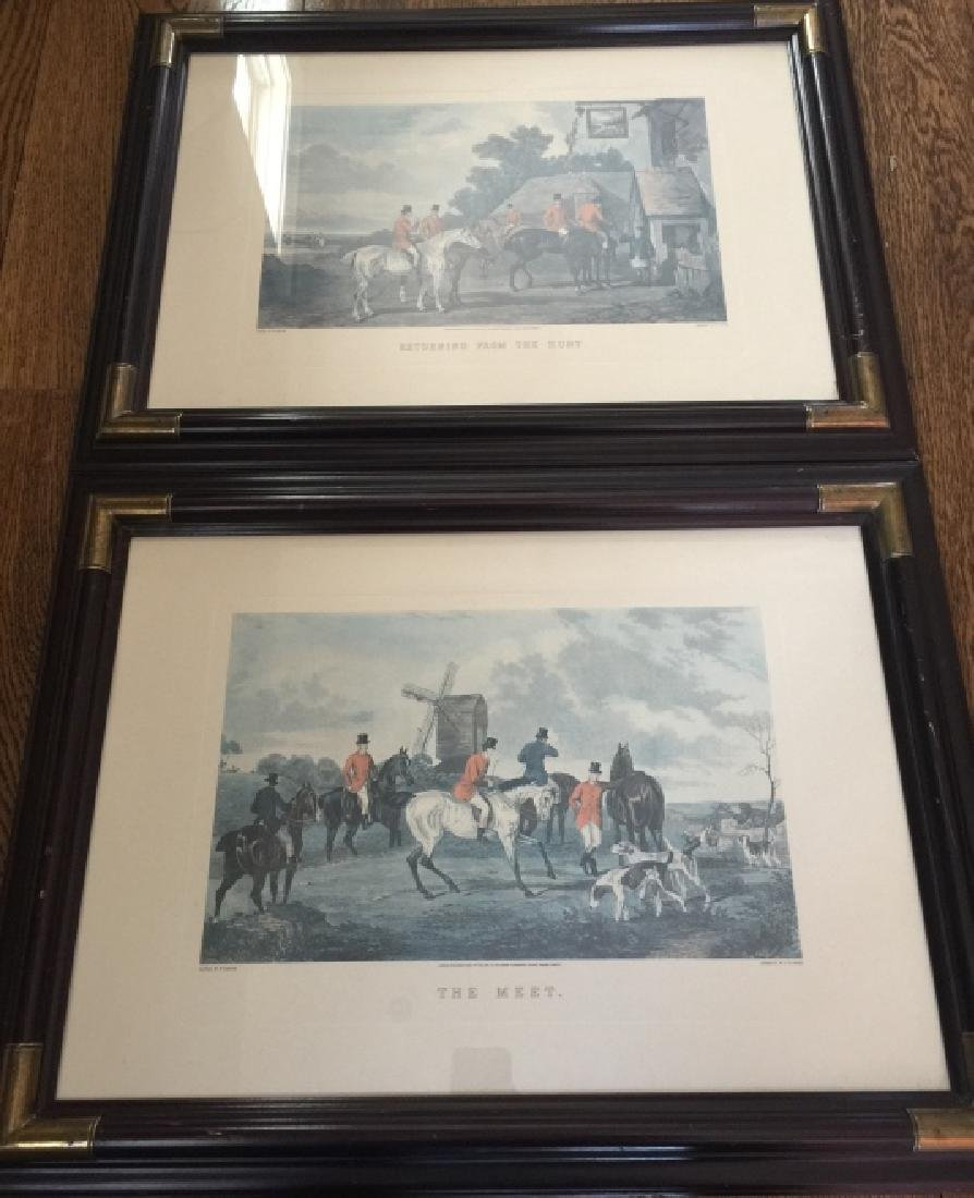 Pair Large Vintage Framed English Hunting Prints