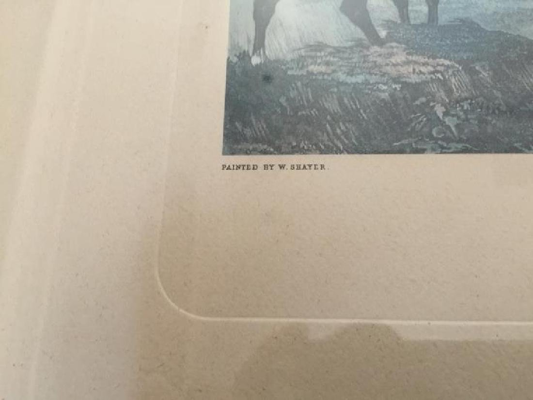 Pair Large Vintage Framed English Hunting Prints - 3