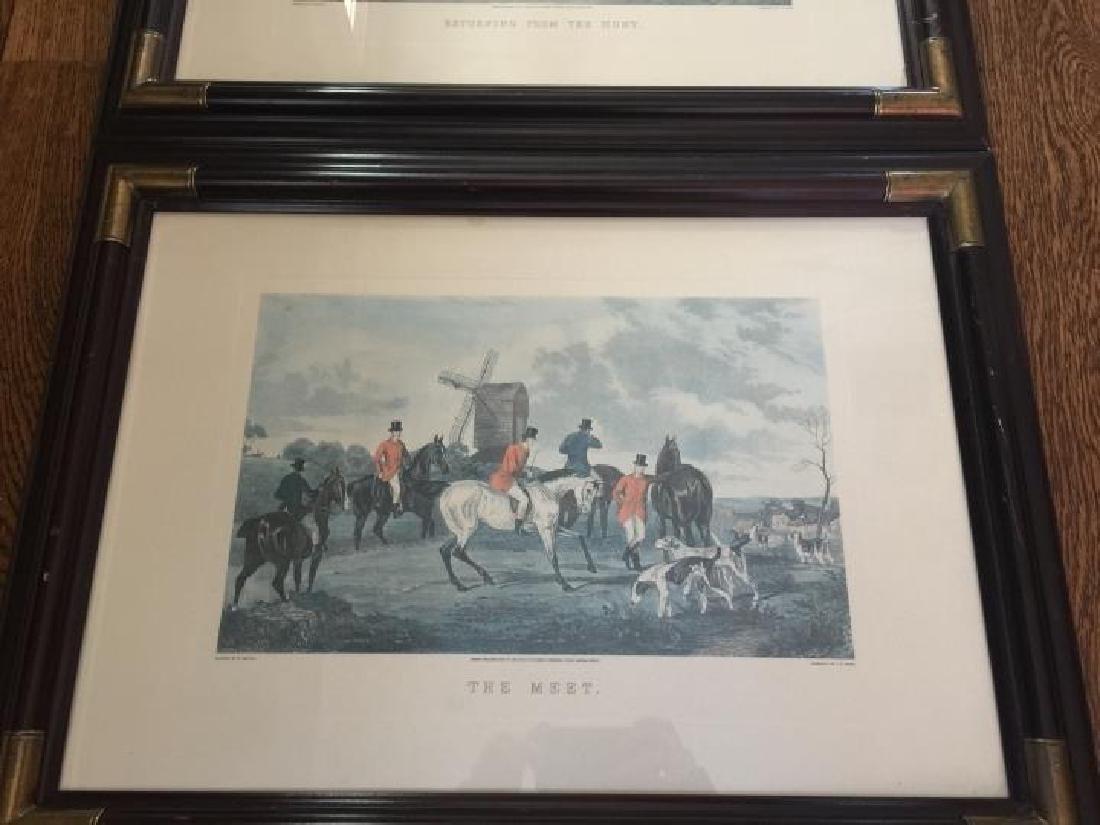 Pair Large Vintage Framed English Hunting Prints - 4