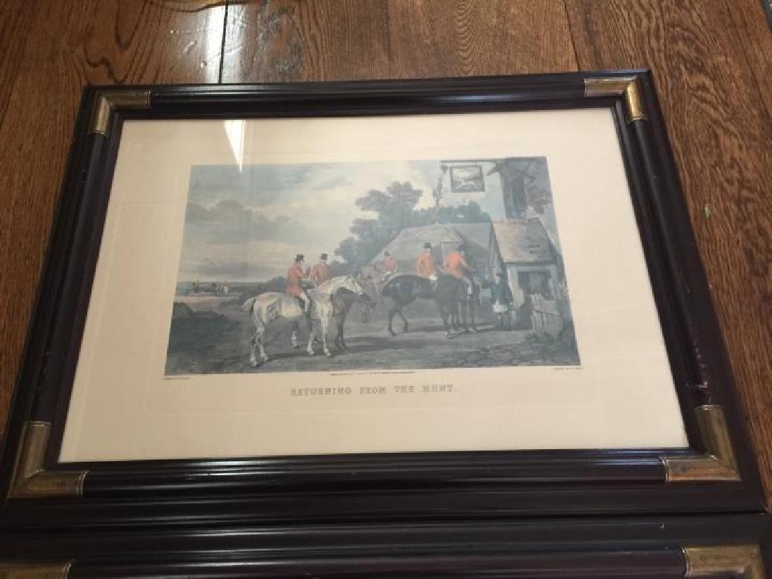 Pair Large Vintage Framed English Hunting Prints - 5