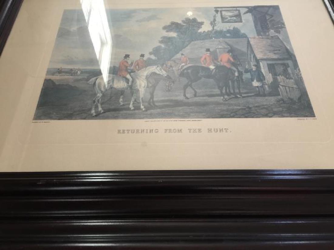 Pair Large Vintage Framed English Hunting Prints - 6