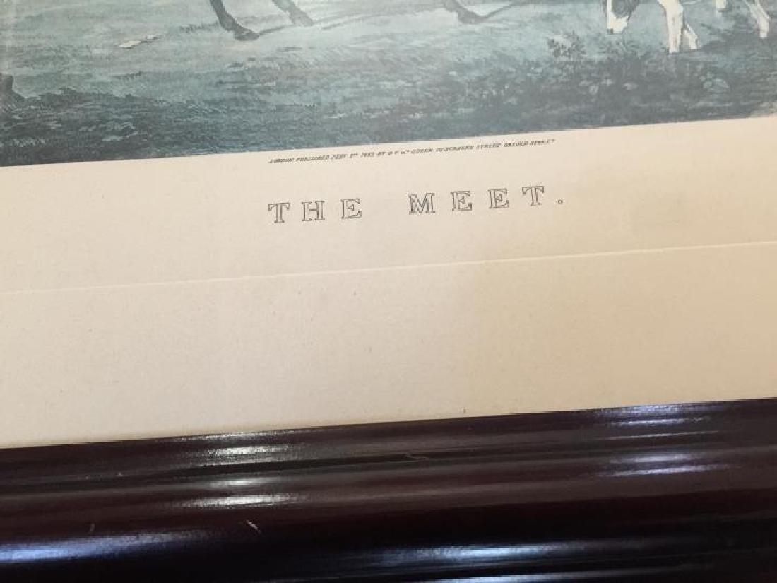 Pair Large Vintage Framed English Hunting Prints - 7