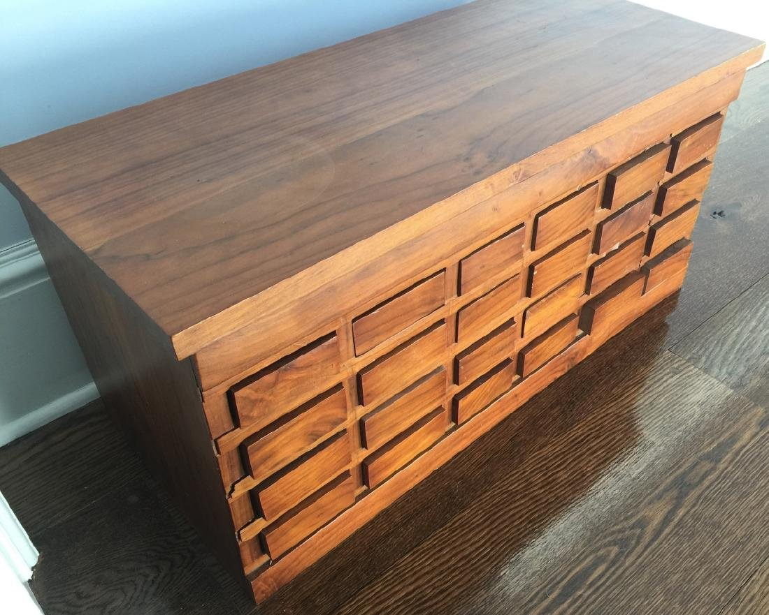 Vintage Hard Wood Cubby Hole Jewelry Cabinet