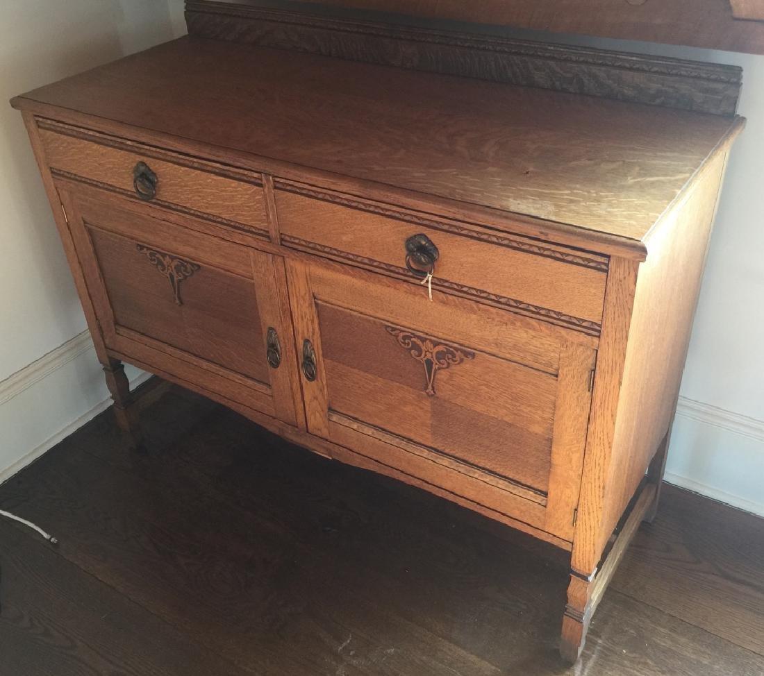 Antique American Carved Oak Side Board / Buffet