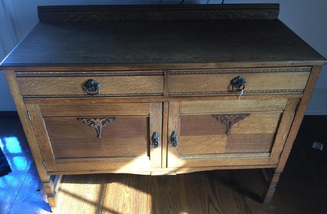 Antique American Carved Oak Side Board / Buffet - 2