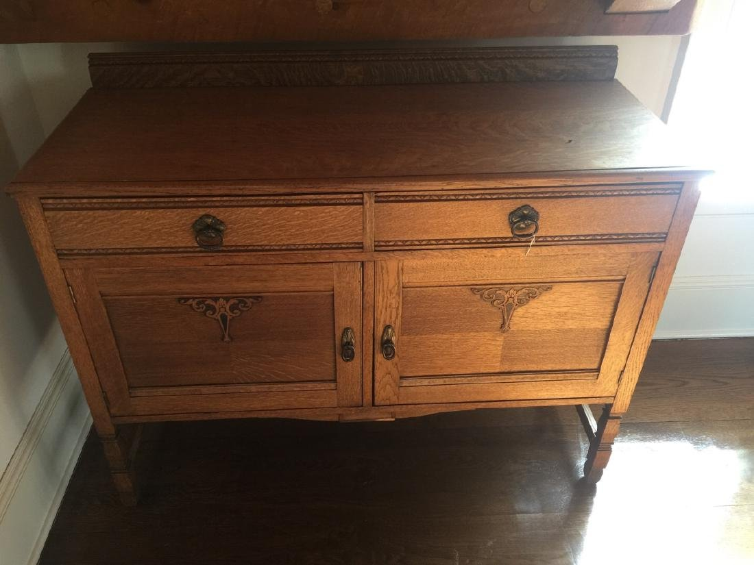 Antique American Carved Oak Side Board / Buffet - 3