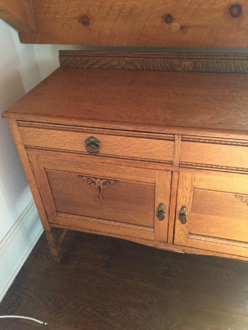 Antique American Carved Oak Side Board / Buffet - 5
