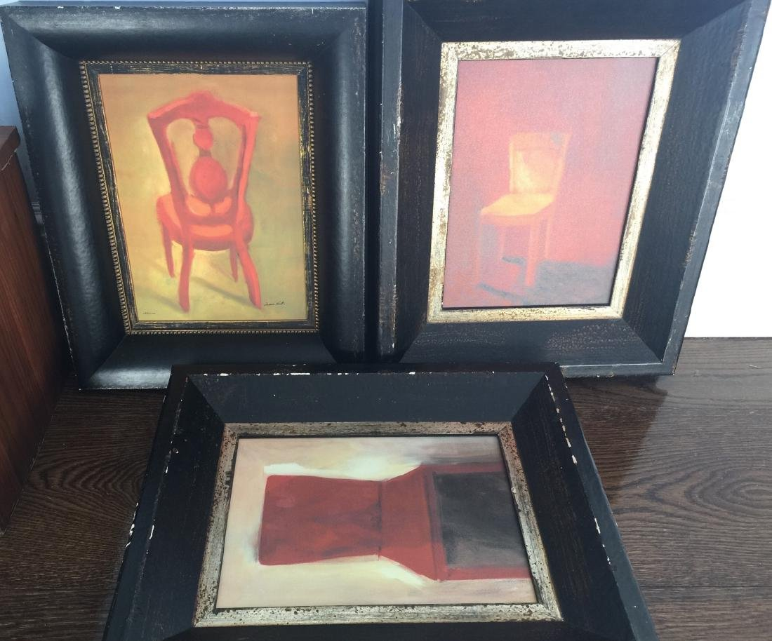 Three Contemporary Paintings of Chairs in Frames