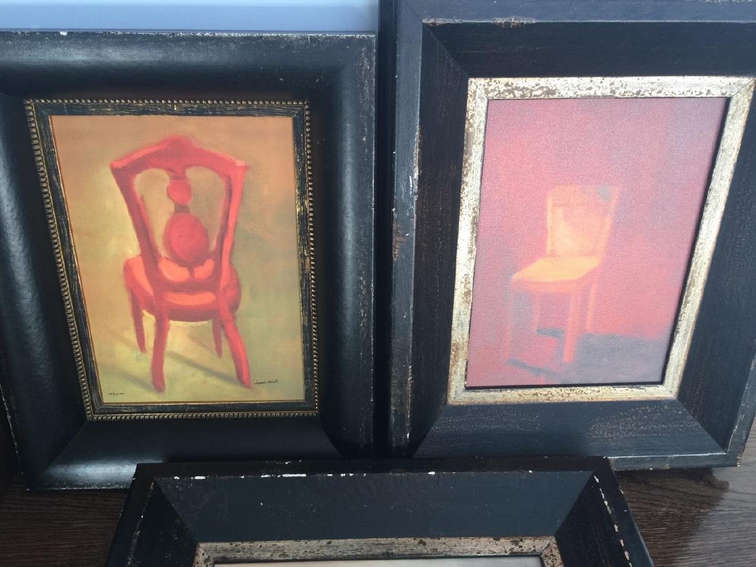 Three Contemporary Paintings of Chairs in Frames - 3