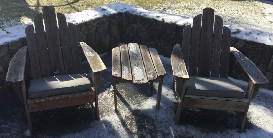 Pair Smith Hawkin Teak Wood Armchairs w Table