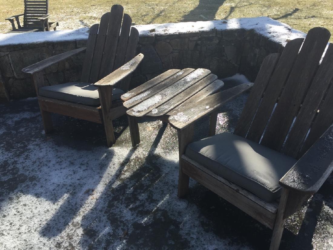 Pair Smith Hawkin Teak Wood Armchairs w Table - 2