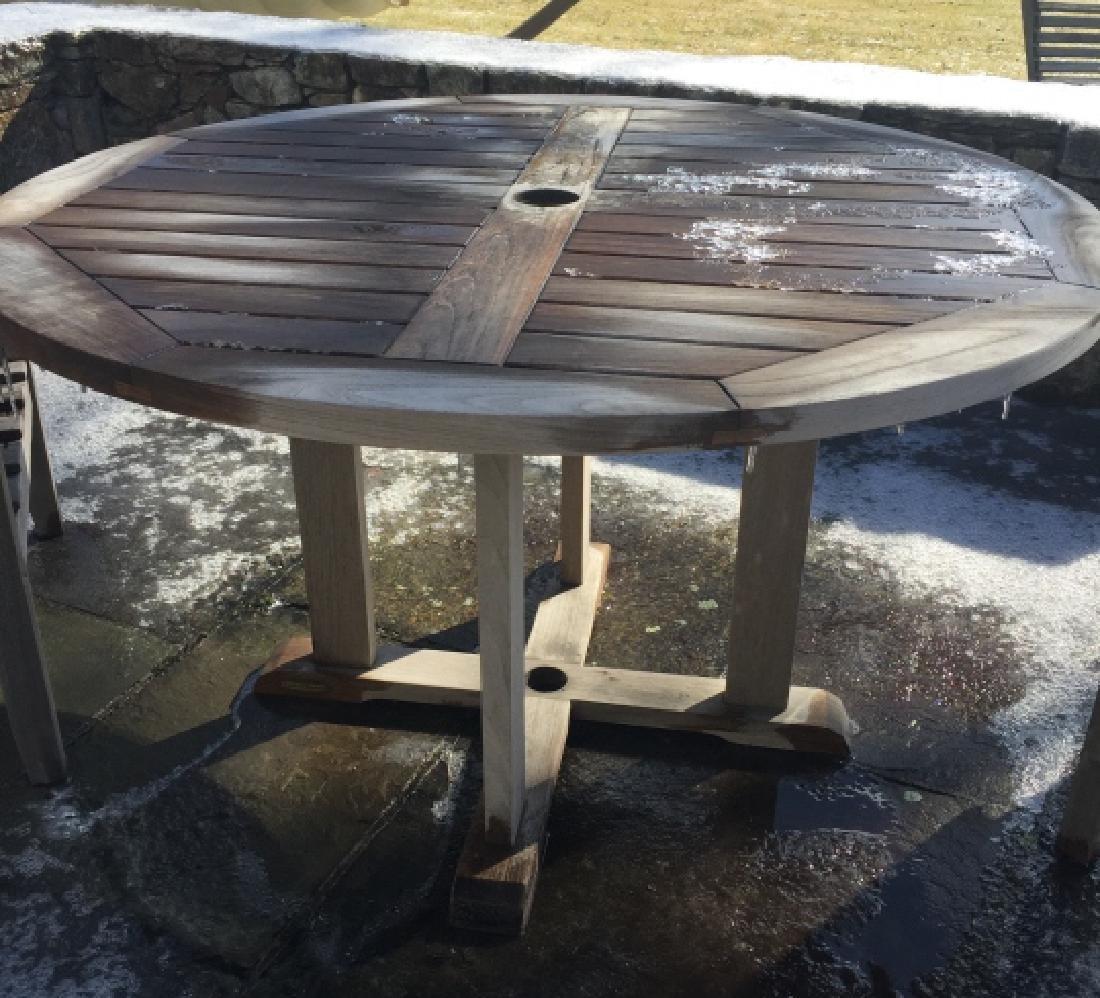 Smith Hawkin Teak Wood Round Dining Table
