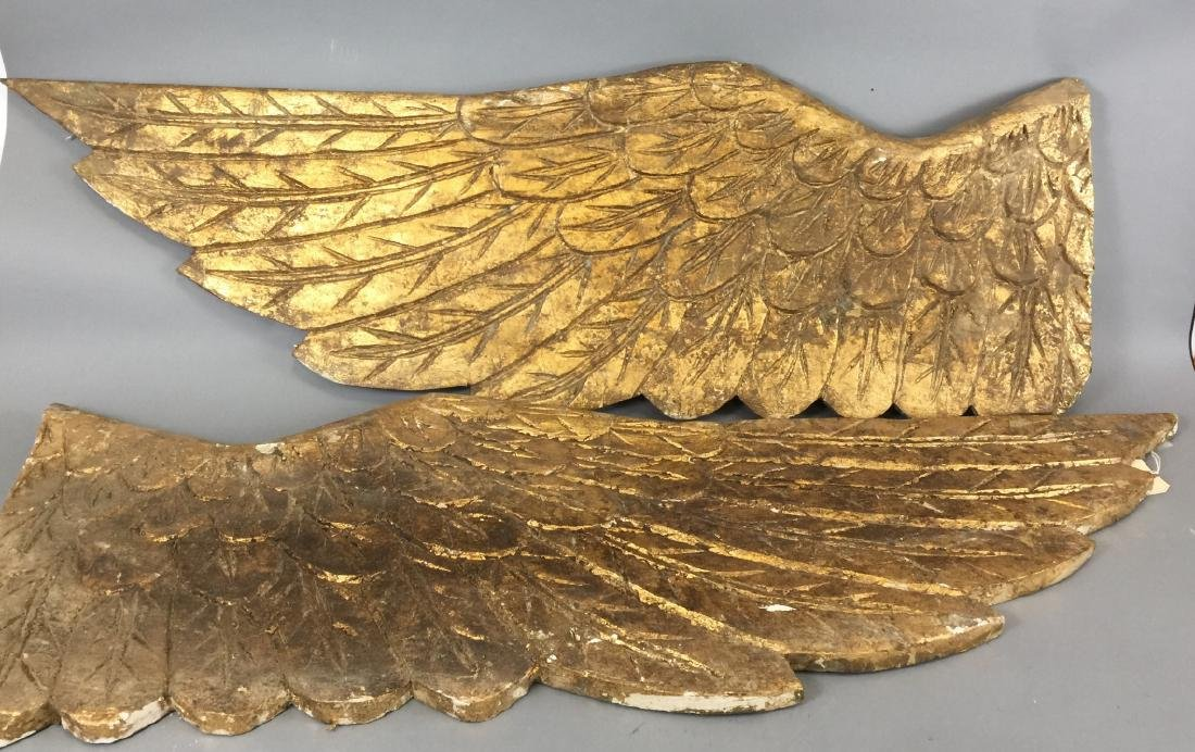 Large Hand Carved Gold Leaf Angel Wings