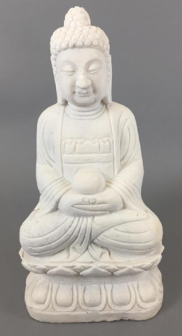 Carved White Marble Chinese / Asian Buddha Statue