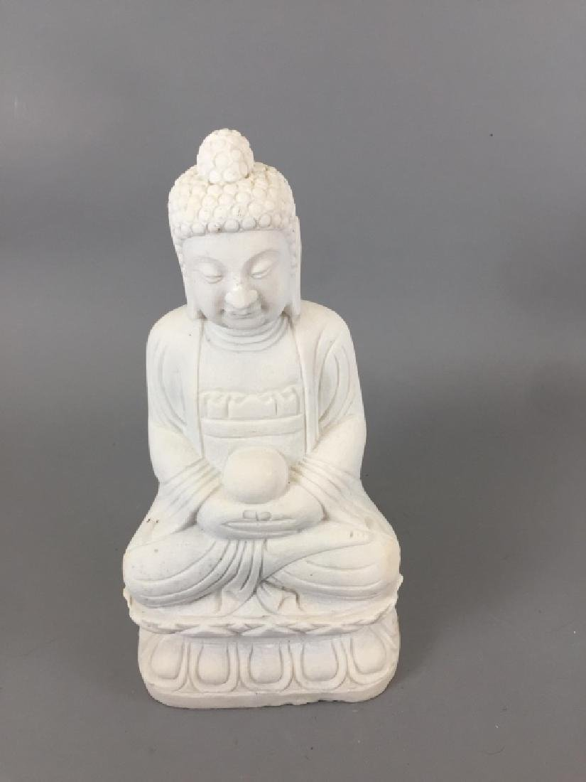 Carved White Marble Chinese / Asian Buddha Statue - 2