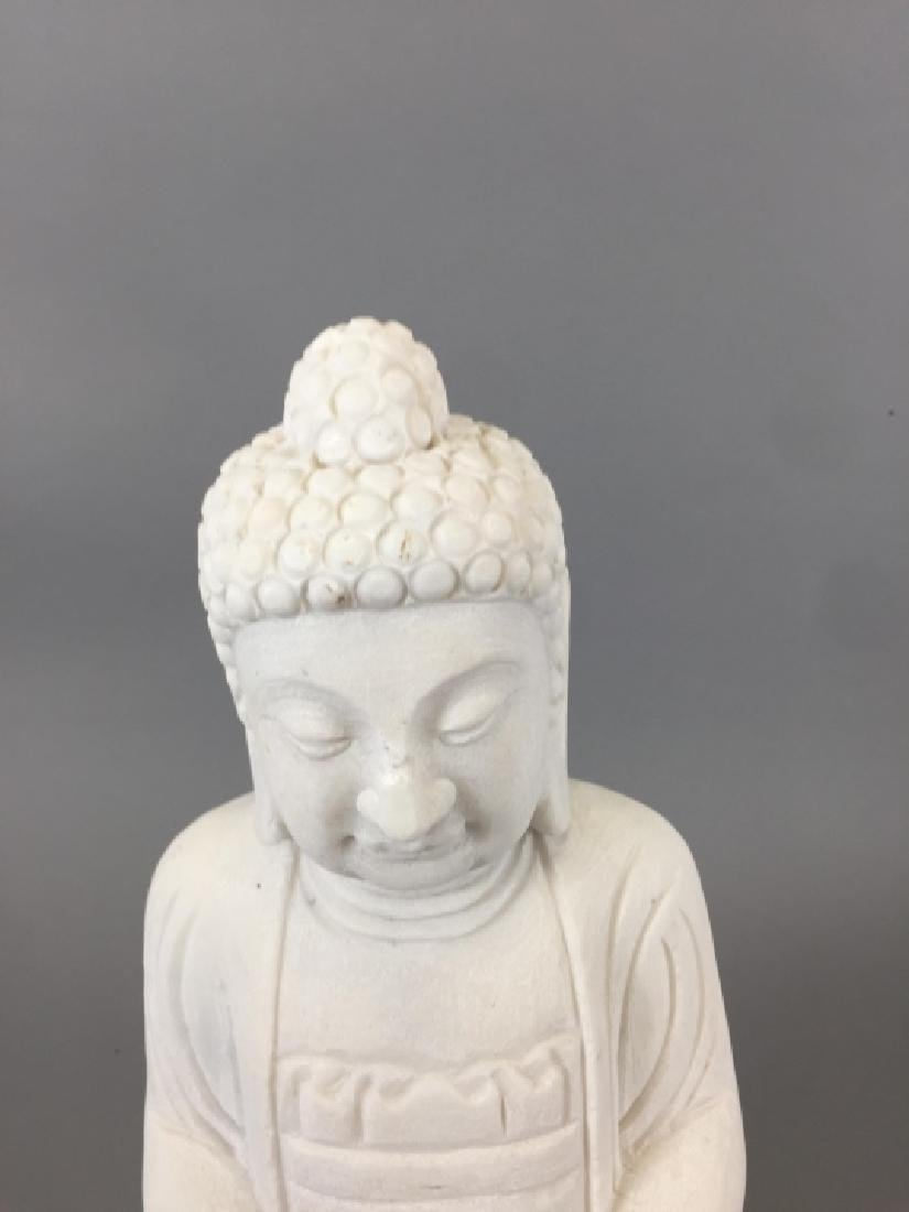 Carved White Marble Chinese / Asian Buddha Statue - 3