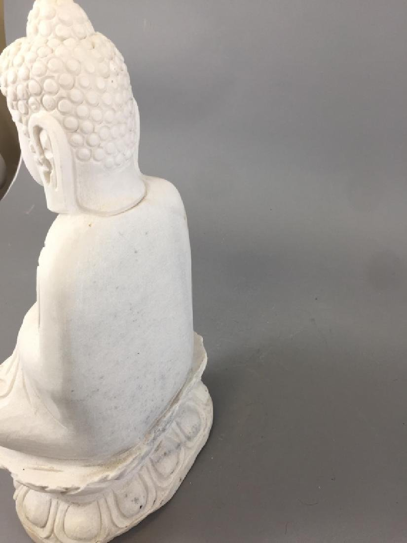 Carved White Marble Chinese / Asian Buddha Statue - 4