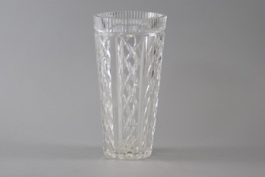 Large Contemporary Faceted Crystal Vase