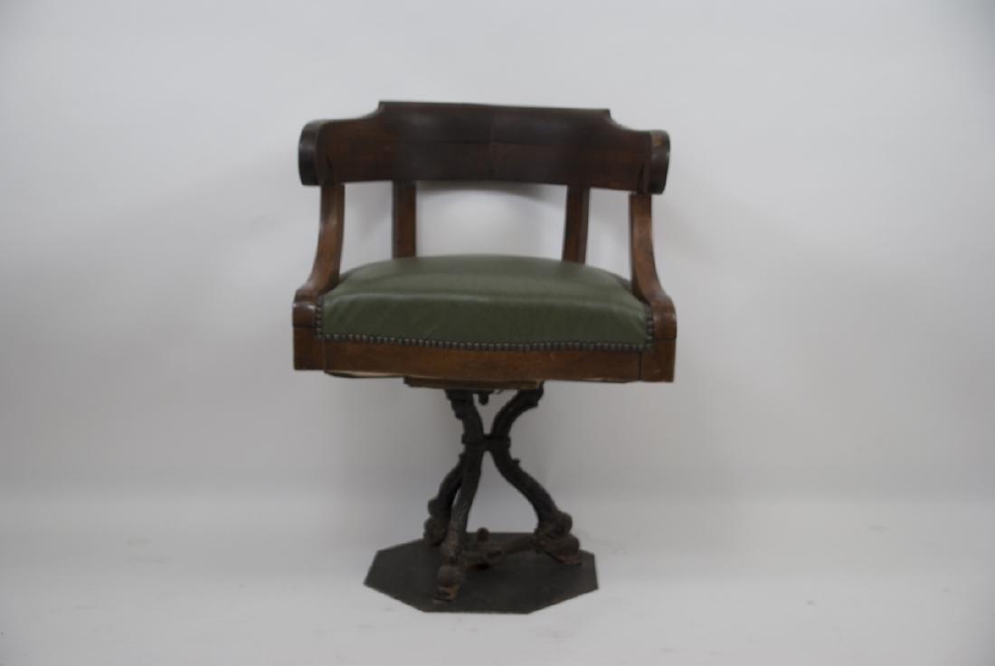 Antique Sea Captains Chair W/ Cast Iron Base