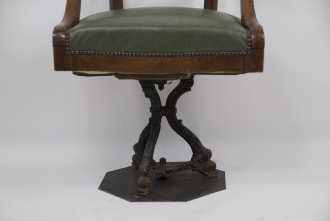 Antique Sea Captains Chair W/ Cast Iron Base - 4