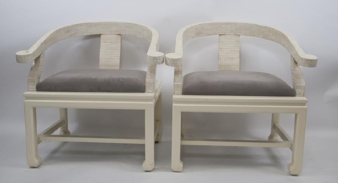 Pair Of White Mosaic Bone Arm Chairs W/ Grey Seats