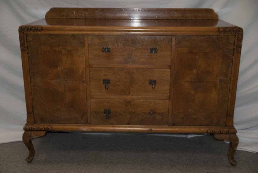 Transitional Art Deco Walnut Console Table Cabinet