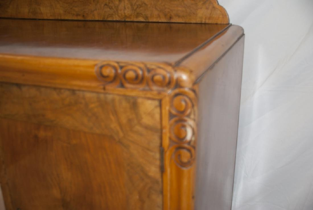 Transitional Art Deco Walnut Console Table Cabinet - 2