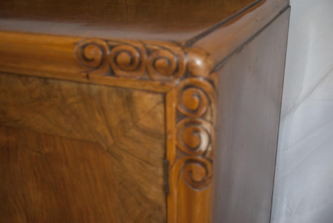 Transitional Art Deco Walnut Console Table Cabinet - 3