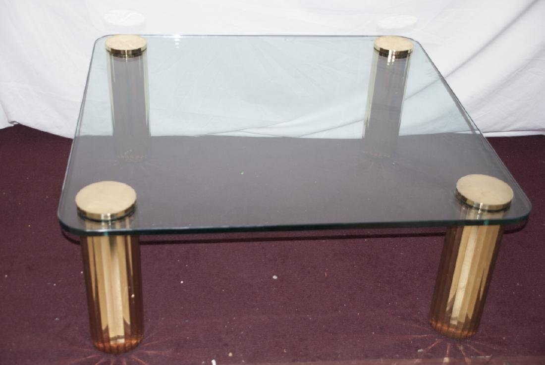 Mid Century Brass Pace Coffee Table W/ Glass Top