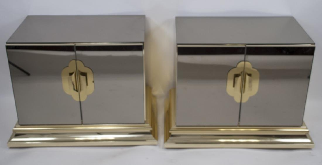 Two Mid Century Mirrored Side Tables Nightstands