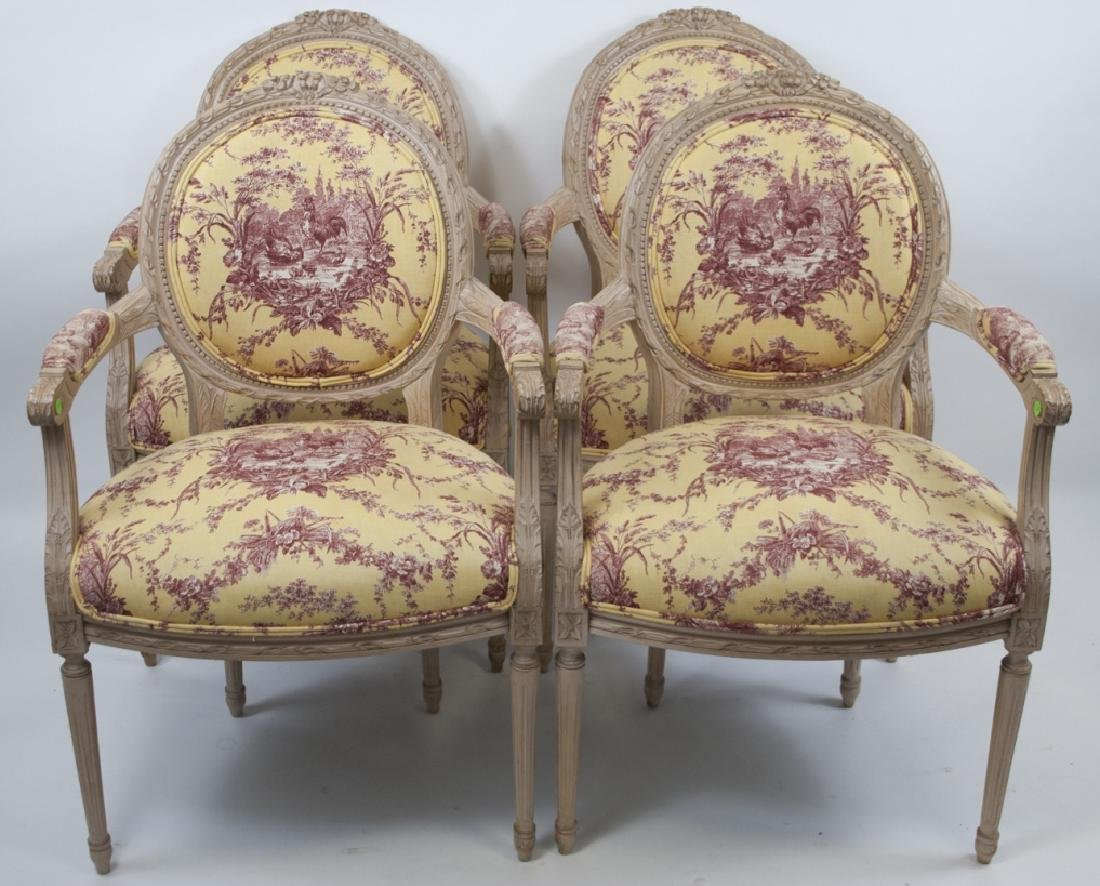 Four French Country Provencal Toile Armchairs