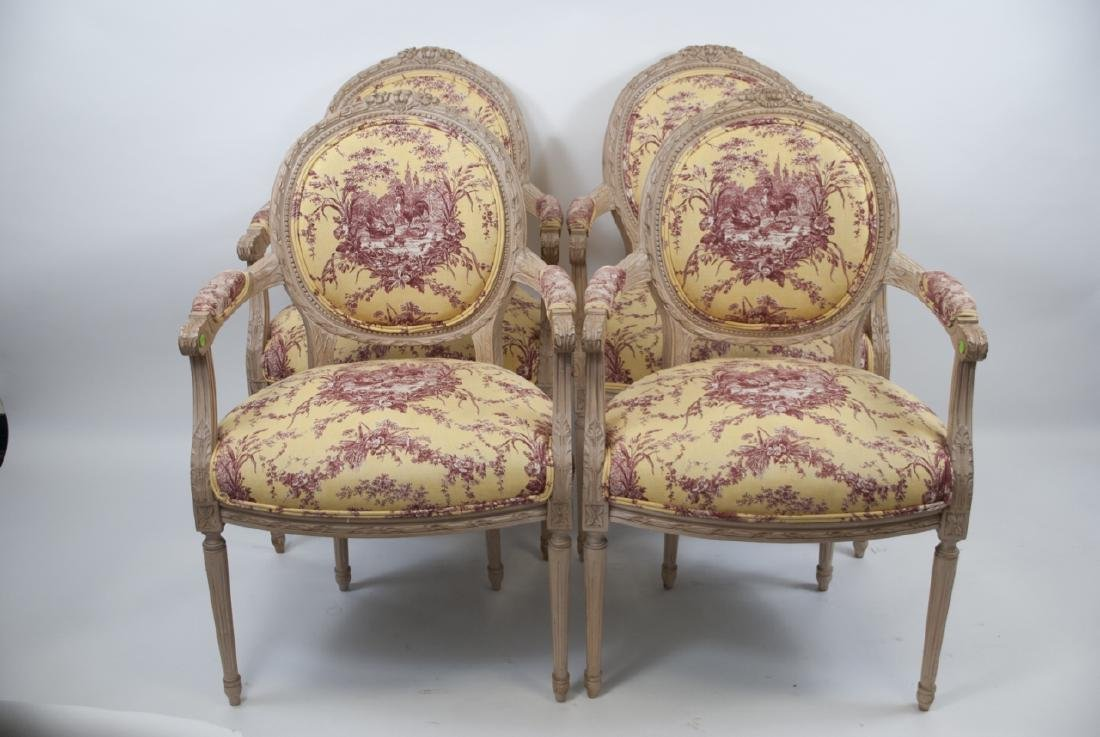 Four French Country Provencal Toile Armchairs - 5