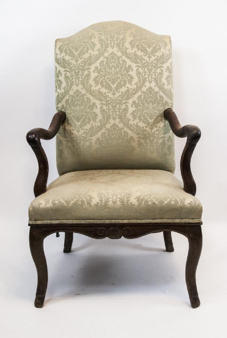 Vintage Green  Arm Chair W/ Floral Design