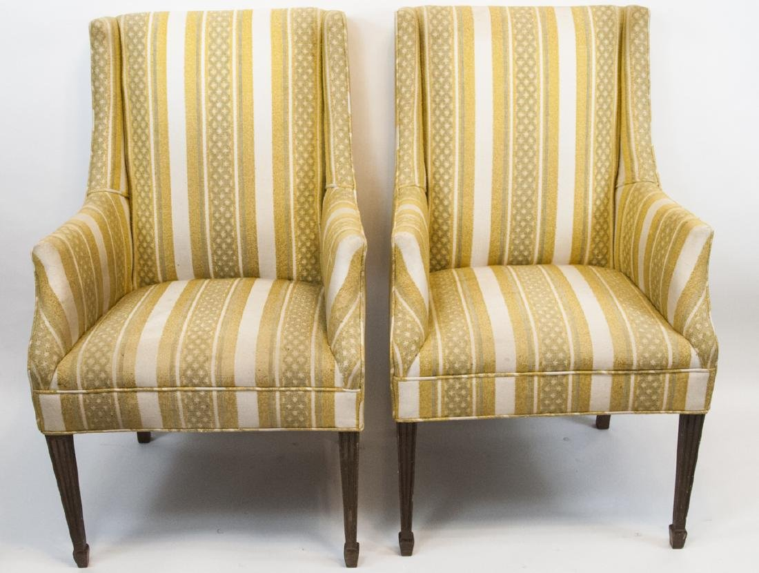 Pair Of Vintage Yellow Striped Wing Arm Chairs
