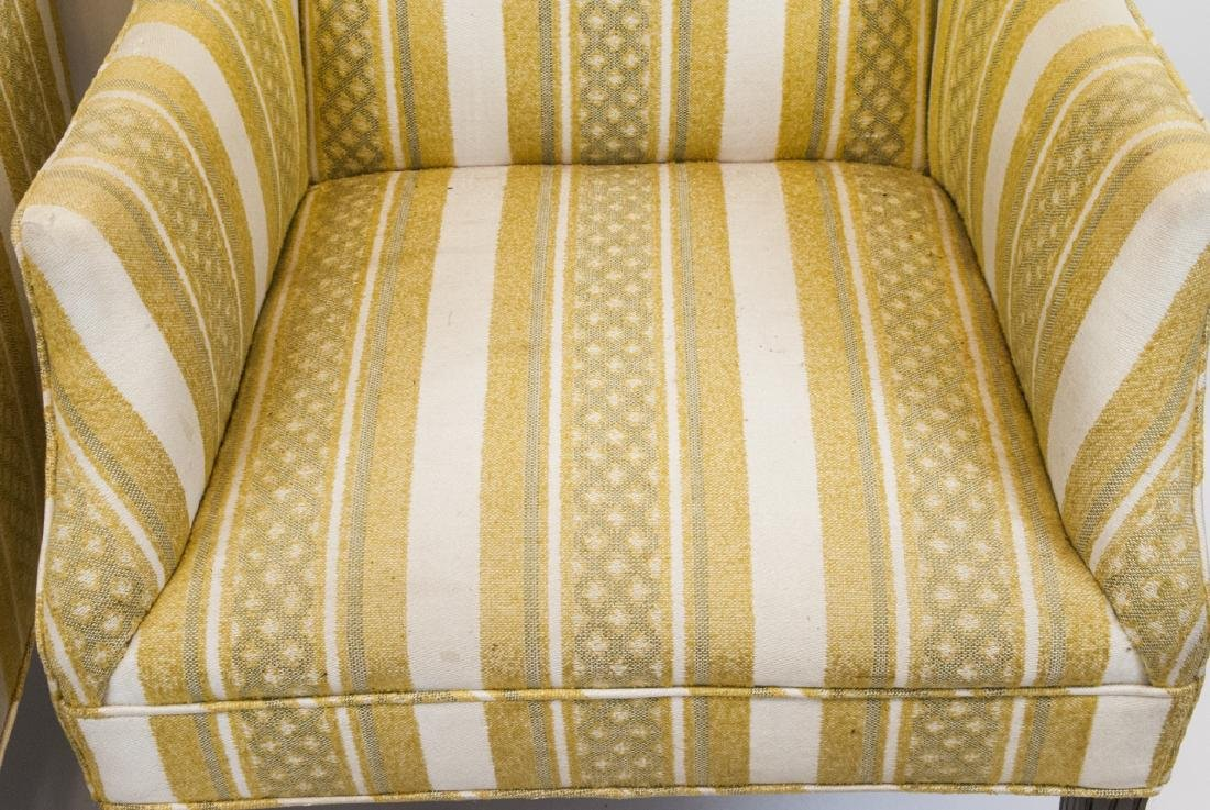 Pair Of Vintage Yellow Striped Wing Arm Chairs - 2