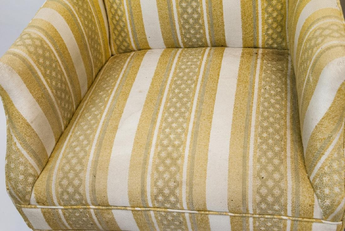 Pair Of Vintage Yellow Striped Wing Arm Chairs - 3