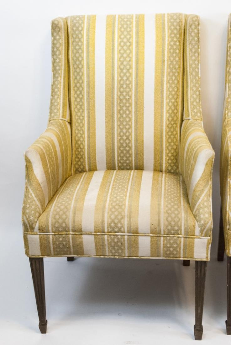 Pair Of Vintage Yellow Striped Wing Arm Chairs - 5
