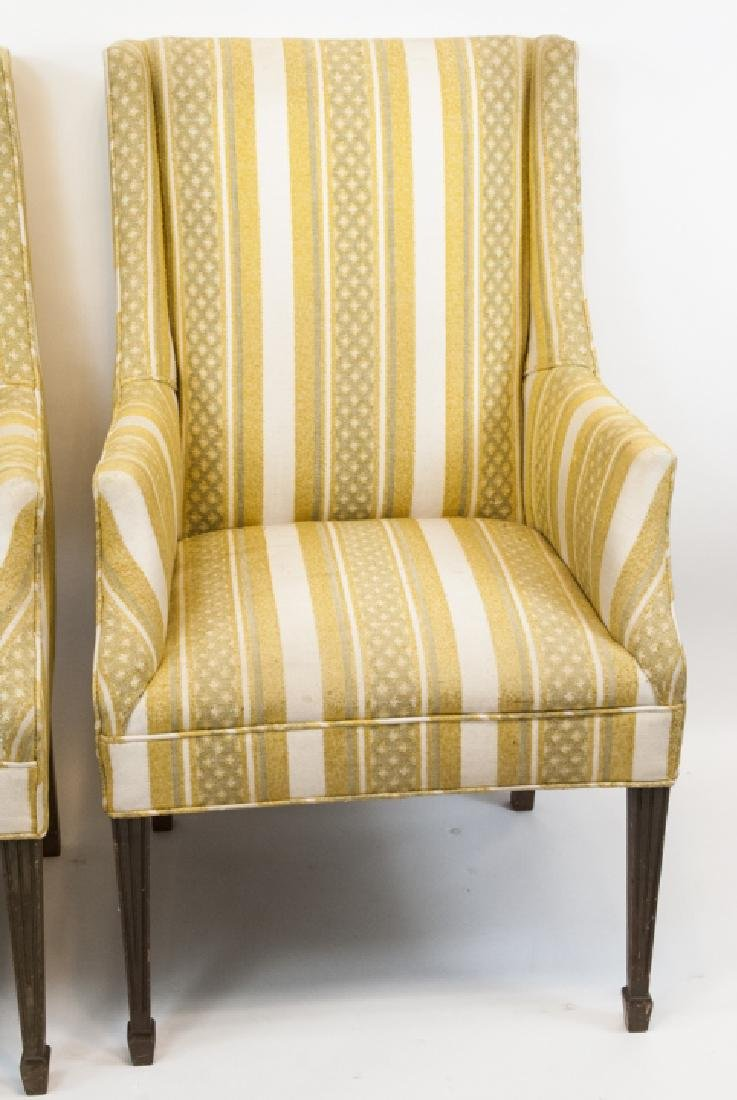 Pair Of Vintage Yellow Striped Wing Arm Chairs - 6