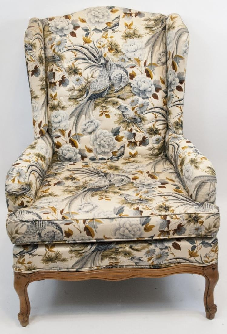 Oriental Style Blue Bird Wingback Arm Chair