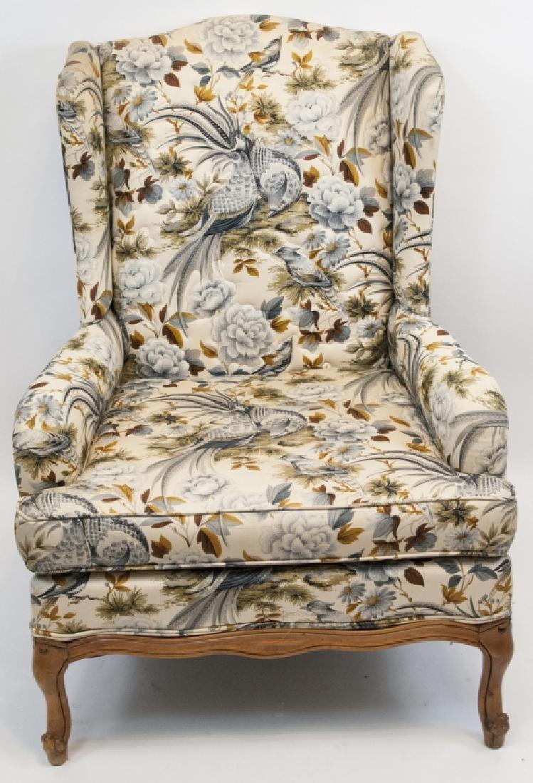 Oriental Style Blue Bird Wingback Arm Chair