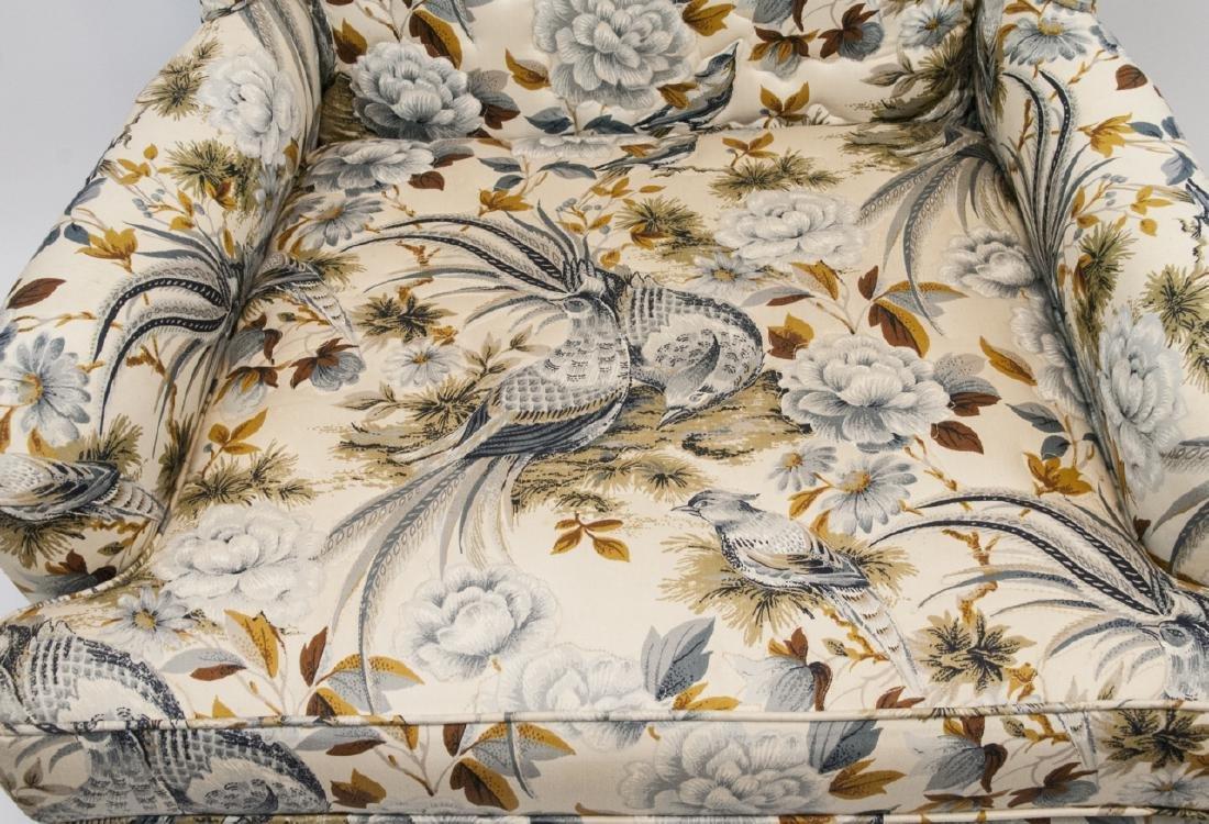 Oriental Style Blue Bird Wingback Arm Chair - 6