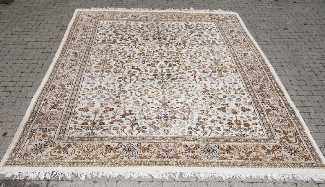 Persian Knotted Wool Rug W/ Animal Motif