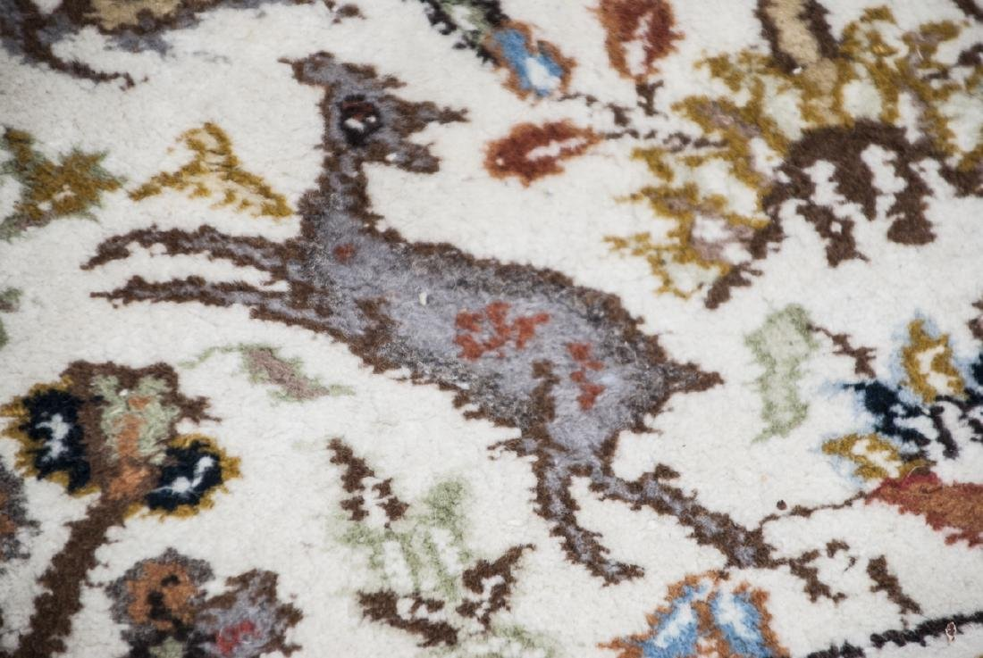 Persian Knotted Wool Rug W/ Animal Motif - 2